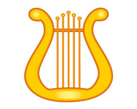 The golden lyre is a stringed musical instrument, a symbol of poetic inspiration. Lyra or harp of golden color - stock illustration.