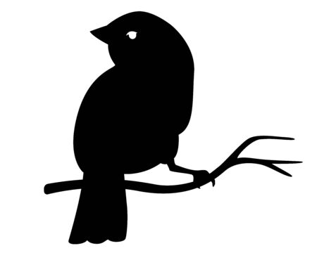 Silhouette - little bird sitting on a branch vector illustration for icon. Spring has come - a bird has arrived and is sitting on a flowering tree. Vector sign - bird.