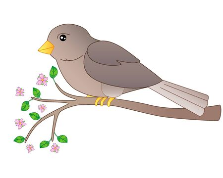 A small bird - a sparrow sits on a flowering branch - a full-color vector spring picture. Gray-brown cute bird on a branch with young leaves and pink flowers