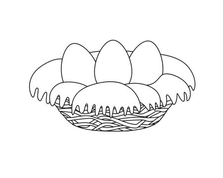Three egg nest - vector linear image for coloring. Birds nest of attic and hay with large eggs - a picture on the spring theme. Outline Hand drawing Stock Illustratie