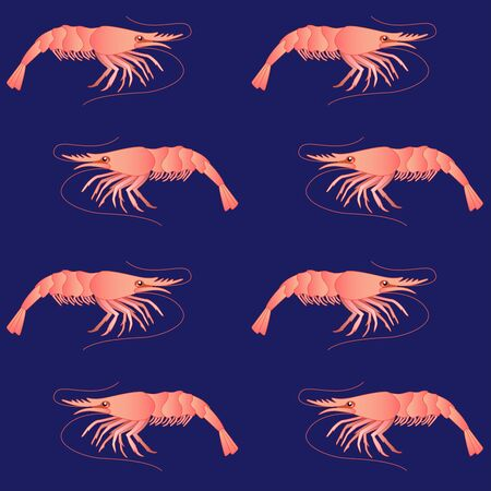 Shrimps on a classic blue background - marine, summer, vector, seamless pattern with the inhabitants of the underwater world. Pink shrimp - seafood seamless background.