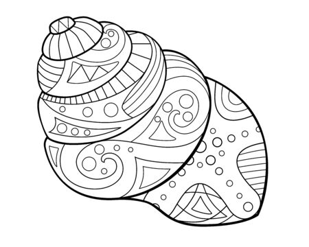 Swirling cone-shaped shell with a marine pattern - antistress coloring book - vector linear picture for coloring. Outline Marine coloring - clam in a shell with patterns for coloring. Ilustração