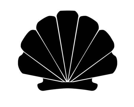 Seashell - Scallop black silhouette - vector illustration silhouette for icon Vektorgrafik