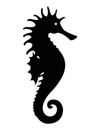 Seahorse - Ocean inhabitant - Silhouette for pictogram. Fish seahorse black silhouette icon
