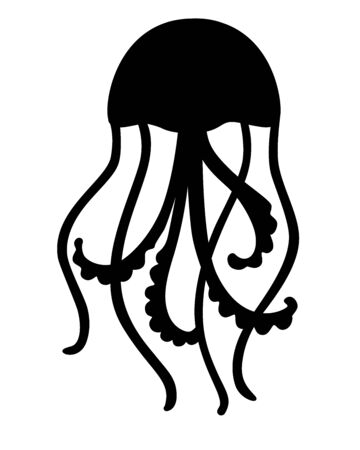 Jellyfish silhouette. Jellyfish marine animal black silhouette vector illustration