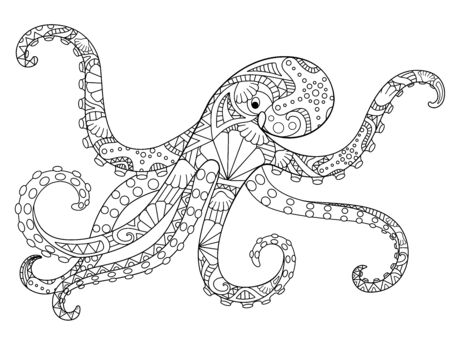 Octopus - antistress coloring book - linear vector illustration for coloring. Outline Hand picture. Octopus, ocean dweller - picture with a marine ornament for a coloring book