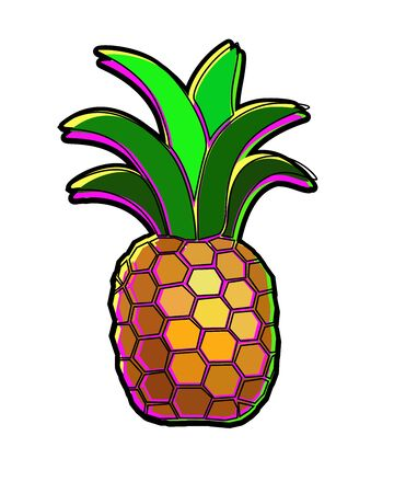 Pineapple - bright multi-colored tropical fruit - vector full color picture. Stylish shiny feshin pineapple for summer prints. Juicy sweet cool pineapple.