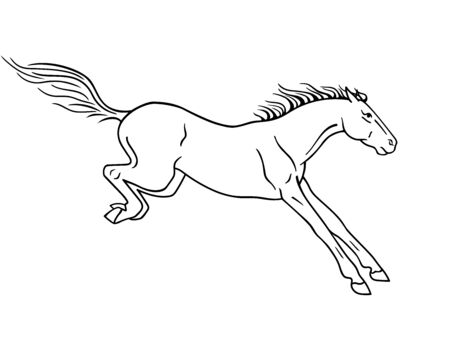 Horse galloping - vector silhouette for  pictogram. Hand drawing. A horse in a canter center, phase with support on two legs. Beautiful, thoroughbred Prancing stallion - black silhouette sign for the icon.