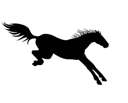 Horse Vector black silhouette of a horse landing after a jump - a sign for a pictogram  . Jumping horse is being landed - icon.