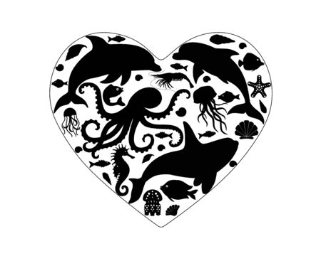 Sea life. I love ocean heart with sea animals. Silhouettes of marine life located in the shape of a heart - dolphins, killer whale, octopus, fish and shells. Illustration of black silhouettes.