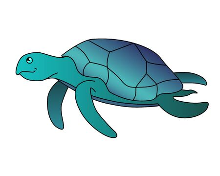 Turtle. Sea turtle is swimming - vector full-color picture in cartoon style and green-blue colors. Vector cartoon bug for illustrations on the theme of the underwater world of the oceans. Illusztráció