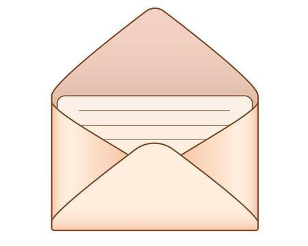 The envelope. An open envelope with a letter inside made of aged yellowish paper - vector full color picture. Open envelope with a letter.
