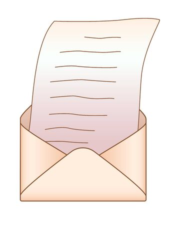 Open envelope with a letter - vector full color picture. The envelope is opened and a sheet of written paper is pulled out of it.