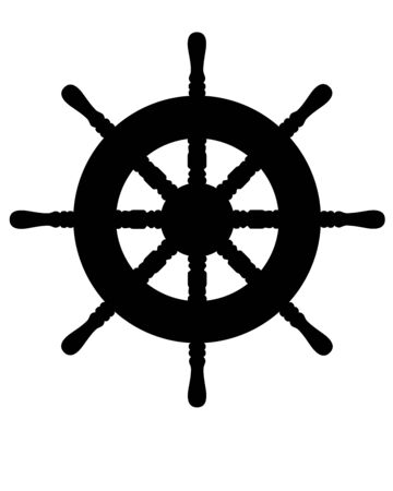 Steering wheel - black vector silhouette for pictogram. Steering wheel of a yacht or ship - black silhouette for icon or sign. Yachting