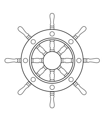 Steering wheel - vector linear picture for coloring. Steering wheel of a ship or yacht - an element for a book of coloring books. Outline Hand drawing on the theme of the sea and seafaring.