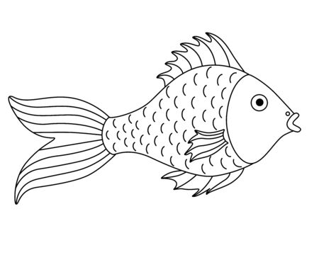 Small river or aquarium fish - vector linear picture for coloring. Cartoon fish with a big tail. Element for coloring book. Outline