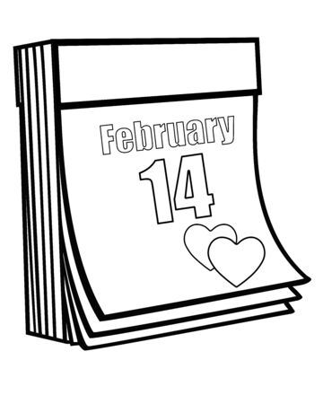 Valentine's Day. Tear-off calendar with the date of February 14 and two hearts on the page - a vector linear picture for coloring. Outline Valentine's Day - hand drawing.