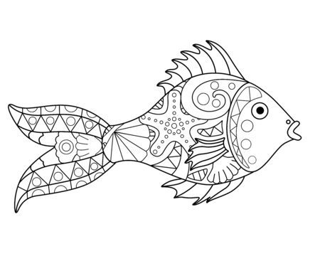 Small river or aquarium fish - vector antistress coloring book. Fish - a linear vector element for a coloring book about the sea. Outline Hand drawing.