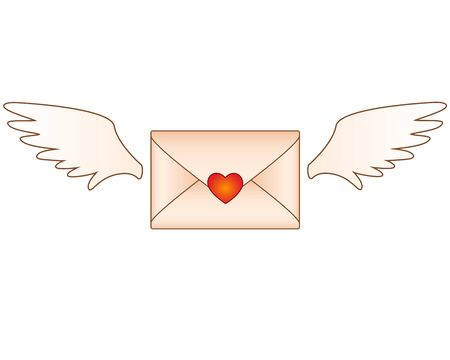 Love letter - Valentine - envelope with heart and wings - vector full color picture. Flying envelope with a love note. Kraft paper envelope with wings sealed with a heart-shaped seal.