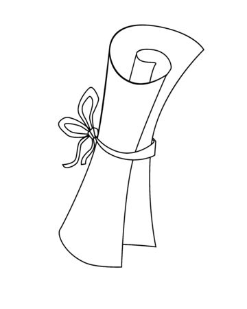 Scroll - paper rolled up and tied with a ribbon - vector linear picture for coloring. A letter folded into a scroll and tied with a rope. Outline Hand drawing.