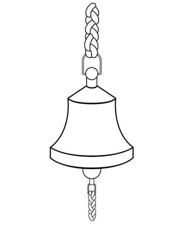 Ship bell - vector linear picture for coloring. Outline Ship bell for signaling with ropes. Hand drawing. Ilustración de vector