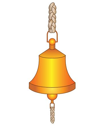 Bell. Golden metal ship bell - vector full color picture. Ship bell for signaling.