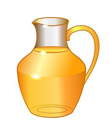 Transparent glass jug with orange drink - vector full color picture. Glass carafe with juice. Summer healthy drink Ilustração Vetorial