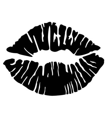 Imprint of painted lips - black vector silhouette sign Illustration