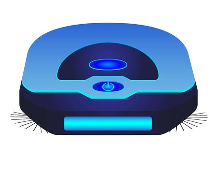 Blue robot vacuum cleaner - vector full color picture. Robotic, standalone cordless vacuum cleaner. Cleaning device - a robot for cleaning floors and dust.