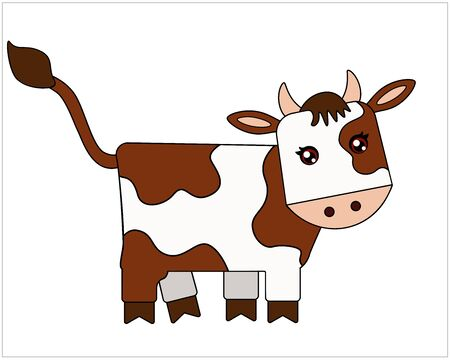 Bull - symbol 2021 - full color, stylized children`s vector illustration. The calf is a cute picture. Buffalo with brown spots - an animal of the Chinese horoscope.
