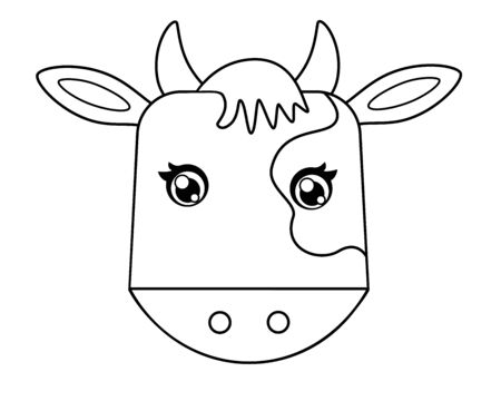 Cow head - linear vector illustration for coloring. Outline The head of a bull - symbol 2021 - element for a children's coloring book.