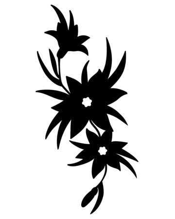 Flowers on the vine - black vector silhouette for tattoo. Lilies and leaves