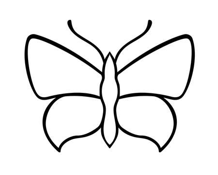 Butterfly - a linear vector template for coloring or cutting. Contour Butterfly Pattern. Outline Illustration
