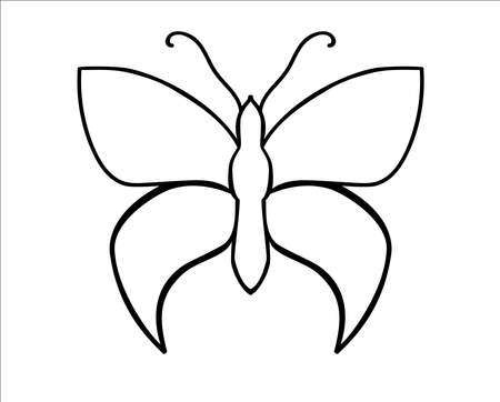 Insect Butterfly - a linear vector template for coloring or cutting. Outline insect template - butterfly. Outline Hand drawing Illustration