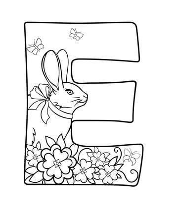 E. Capital letter E decorated with flowers, butterflies and a rabbit with a bow on his neck - vector linear picture for coloring. Outline Spring easter illustration.