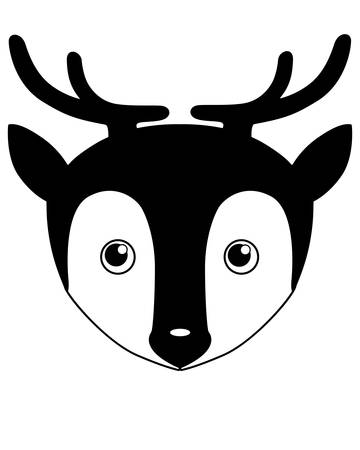 Deer - vector silhouette illustration for logo or pictogram. Silhouette Deer Head - cute picture, smiley for icon or sign.