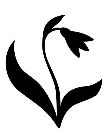 Snowdrop with two leaves - black vector silhouette for pictogram . Snowdrop - sign or icon. Gardening.