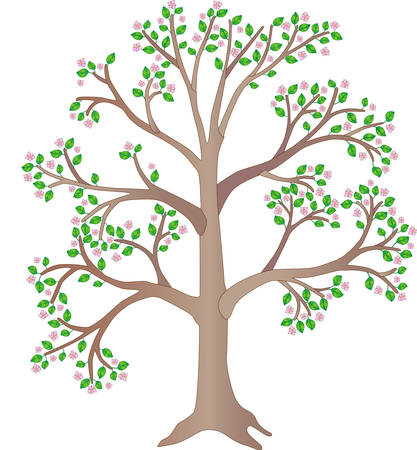 Wood. Blooming spring tree - full color picture. A plant with pink flowers and green leaves. A large spring tree.
