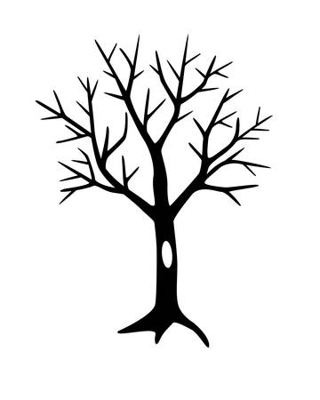 Tree without leaves with hollow silhouette