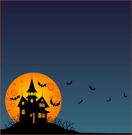 Halloween - square wallpaper - full color stock illustration. Baner, wallpaper or flyer with copy space, Scary mansion, full moon and bats. Halloween illustration with an abandoned creepy house.