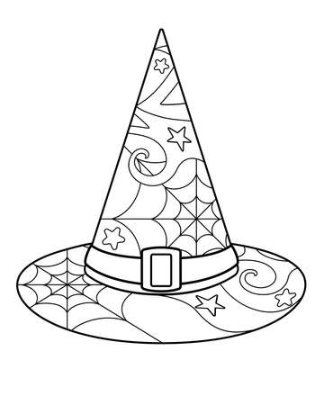 Witch hat - Antistress coloring - vector linear picture for coloring. Halloween coloring - witch hat with anti-stress patterns. Outline. Element for coloring book.