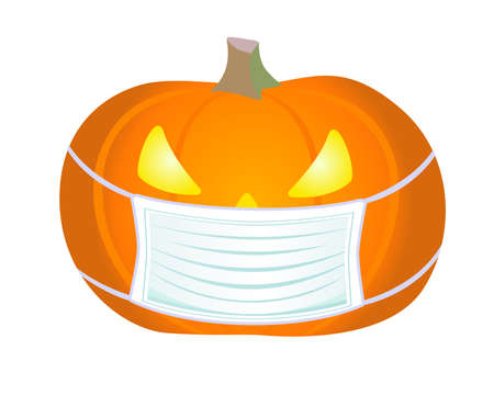 Halloween pumpkin in a medical mask - full color stock illustration. Halloween illustration - Jack's lantern wearing a protective mask. Halloween during the coronavirus pandemic. COVID-19 Ilustração