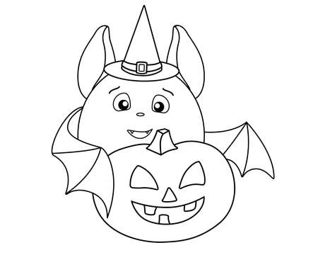 A cute fat bat in a magic hat carries a Halloween pumpkin - a linear stock illustration for coloring. Bat, Jack's Lantern and Witch's Hat are a coloring book element.