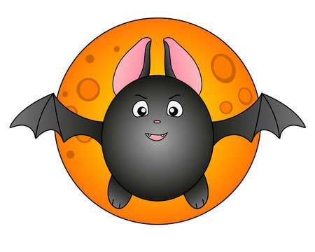 Cute fat bat on the background of the full moon and stars - full color stock illustration about Halloween. Taking off bat against the background of the full moon. Funny angry bat. Vettoriali