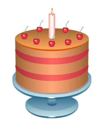 Cherry cake with a candle. Birthday cake on a stand - vector full color illustration. Puff cake decorated with cherries and candles - festive sweets.