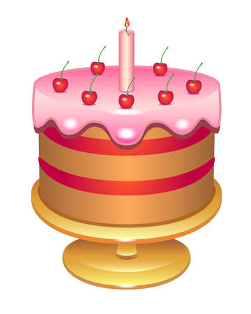Cherry cake with a candle covered with icing. Birthday cake on a platter - vector full color illustration. Glazed cake decorated with cream cherries and candles - festive sweets.