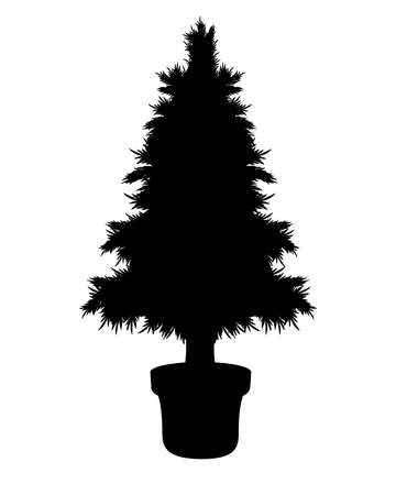 Christmas tree in flower pot - vector silhouette for logo or pictogram. A small coniferous tree in a flowerpot is an icon or sign for identity.
