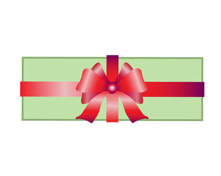 Present. Gift box with a ribbon tied with a large bow - vector full color illustration, editable outline. Gift box tied with a red ribbon.