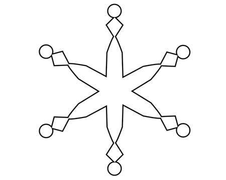 Snowflake - vector linear editable template. Editable path for coloring or cutting - snowflake. Outline. Snow is an element for a coloring book. Illusztráció