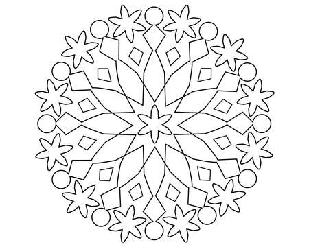 Mandala or snowflake with patterns - vector linear illustration for coloring. Outline. Circular pattern with editable path. Snowflake is a template for coloring or cutting.